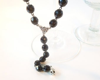 Silver Sugar Skull and Roses Large Black Crystal Rosary Style Necklace
