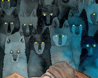 "Watercolor wolf painting 9x12"" art print of Angela Carter ""In the Company of Wolves"" inspired black and blue spirit wolf ink painting"