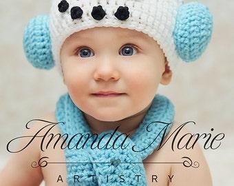 Newborn Crochet Snowman Hat and Scarf/ Photo Prop