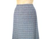 vintage 1970s PENDLETON plaid wool skirt / blue / 70s skirt / a-line / women's vintage skirt / size 14