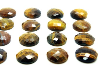 GCF-1002 - Tiger Eye Cabochon - Faceted Gemstone - 16mm Round - AA Grade - 1 Pc