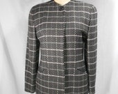 vintage 1980s CHRISTIAN DIOR plaid jacket / size 6