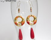Dangle modern statement earrings with large pink and gold cloisonne, large teardrop howlite turquoise, sterling silver, statement earrings