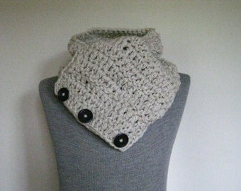 Ivory Crochet Womens Scarf  Neckwarmer Cowl with Large Coconut Buttons