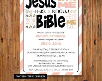 Baptism Invitation ... Jesus Loves Me Modern Baptism invite, Child Dedication, Christening, Confirmation - Item 0169