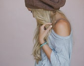 SALE Knitted Beanie, Cognac, Slouchy Hat, Cap, Knit Hat, Fashion Accessory, Women's, Stocking Stuffer, Knit Beanie