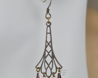 """Red Art Deco Filigree Chainmail Chandelier Drop Earrings - """"Red Flappers"""""""
