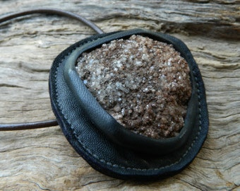 Raw Crystal Jewelry Drusy Quartz  Australian Recycled Leather Pendant Necklace