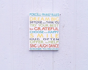 Custom Family Rules Sign Personalized