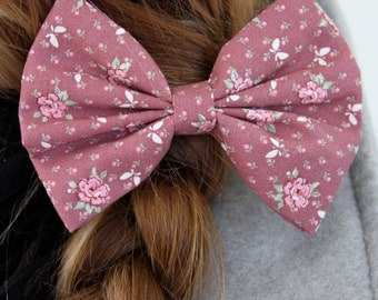 Mary Hair Bow - Floral Pattern with Butterflies Hair Bow with Clip