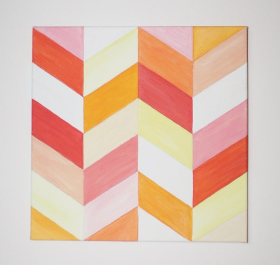 "12""x12"" Chevron Original Painting: Coral Creamsicle"
