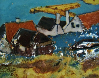 Mid Century Modern Bornholmsk Stoneware tile hand painted and glazed by Nis Stougaard of Svaneke Denmark