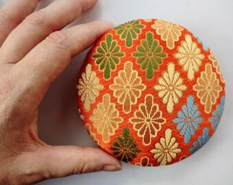 "Golden kimono fabric brooch 4"" inches, handmade Japanese fabric pin back, Kawaii accessory, japanese brocade fabric pin,"