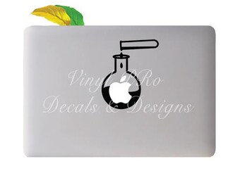 Chemistry Reaction Flask Glassware Research Biochemistry Biotech Lab Science Decal for Macbook