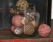 6 Primitive Homespun Ragballs-Grungy-Primitive Decor