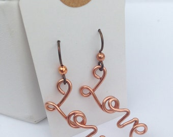 Love Letter Earrings - Solid Copper - Hand Formed - Niobium Hooks