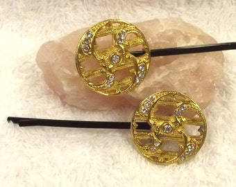 Vintage Jewelry Hair Accessory - Jewel Bobby PIns - Retro Hair Pins - Rhinestone Hair Jewelry