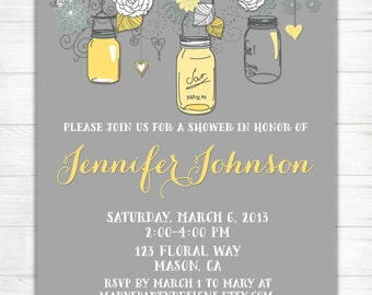 Baby Shower Invitation Yellow Gray Bridal Shower Invitation - Mason Jars Chic Gray Country Grey Birthday Wedding - Printable Digital