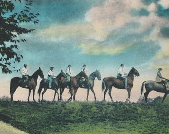 Riding at Pocono - Vintage 1940s Hand-colored Resort Equestrians Postcard