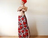 Red black floral floor length maxi skirt