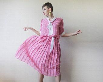 Pink white pleated skirt ascot collar midi dress