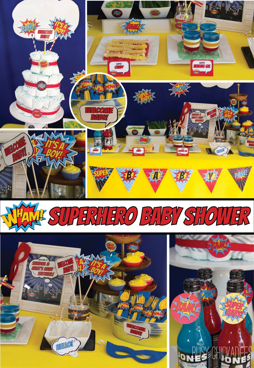 Baby Shower Decoration Packages : Superhero baby shower decorations package pop by