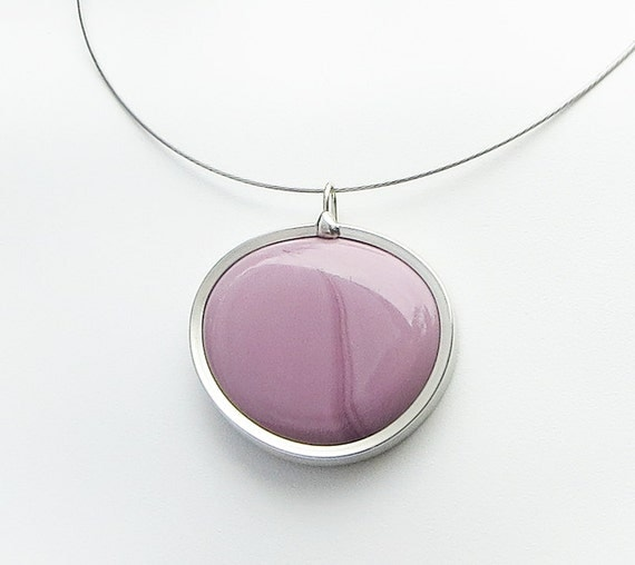 Purple Pendant Lavender melted glass marble pendant, glass jewelry, necklace pendant 006