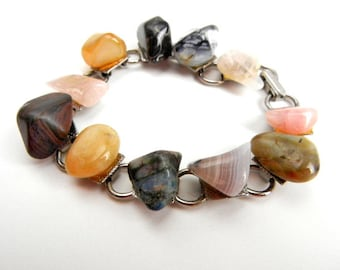 Vintage stone bracelet multicolored on silver from 1960s // amber // pink // gray // brown // fall jewelry