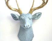 LITE GREY GOLD Faux Taxidemy Deer Head Animal Head Wall Mount Wall Hanging Home Decor:  Large Deerman the Deer Head in gray w/ gold antlers
