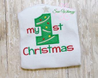 First Christmas bodysuit- Baby Christmas bodysuit- Christmas baby shirt- Christmas tree shirt- Monogram shirt- Custom Christmas shirt- Baby