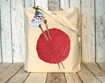SALE Red Wool Illustration Eco Cotton Tote Bag