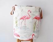 Flamingo XXLarge Laundry Hamper, Laundry Basket, Toy Storage, Nursery Fabric Basket, Storage Bin, Toy Basket, Nursery Storage