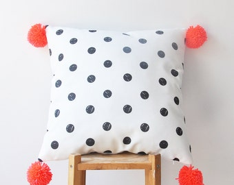"Decorative Pillow, Modern Nursery Pillow, Geometric Kids Pillow, Throw Pillow, Neon Orange Pompoms 16"" x 16"""