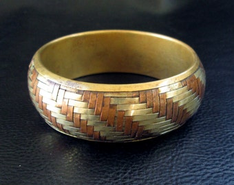 Chunky statement bangle, vintage basket weave striped silver copper brass mixed metal bangle