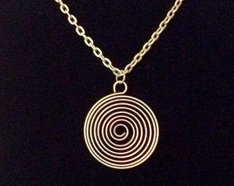 Antiqued bronze spiral wired pendant necklace