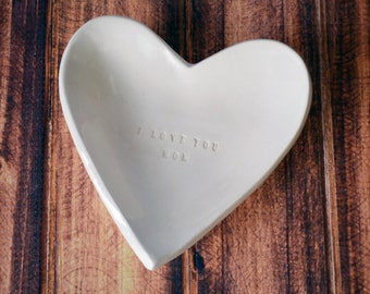 Mothers Gift - I Love You Mom - Heart Bowl - Gift Packaged