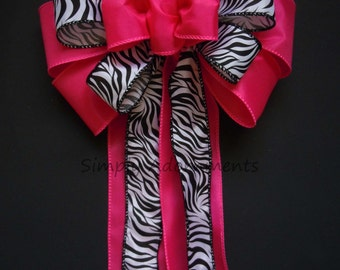 Hot Pink Zebra birthday Party Decor Black Pink Wedding Pew Bow Hot Pink Zebra Shower Party Decoration Fuchsia and Black Wedding Chair Bow