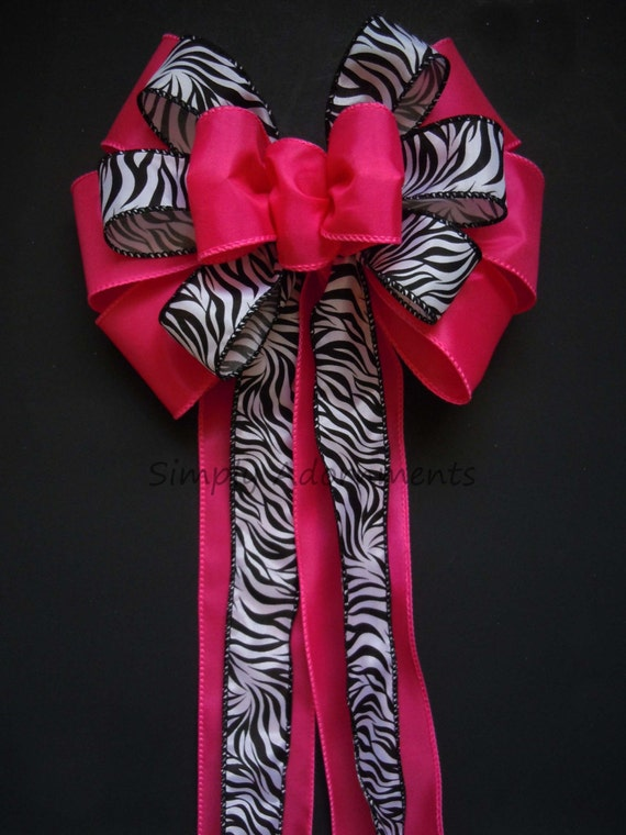 Hot Pink Zebra birthday Party Decor Black Pink Wedding Pew Bow Hot Pink Zebra Shower Party Decoration Fuchsia and Black Wedding Chair Bow