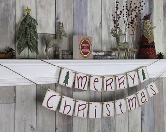 CHRISTMAS DECORATION Merry Christmas Banner - Christmas Photo Prop - Christmas Sign - Christmas Bunting - Christmas Garland