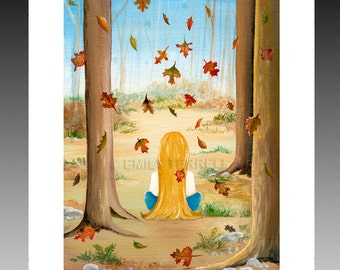 Falling Leaves autumn fall seasons girl woman forest woods sitting home living decor wall hanging decor furnishing framable art print