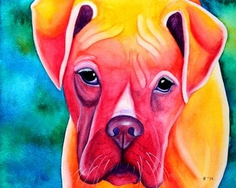 Dog Painting Fawn Boxer Dog Art Original Painting Boxer Watercolor Painting Custom Dog Portrait Boxer Painting Pop Art Pet Portrait