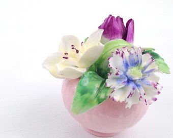 Vintage English Staffordshire Floral Bone China Flower Basket Garden Decor