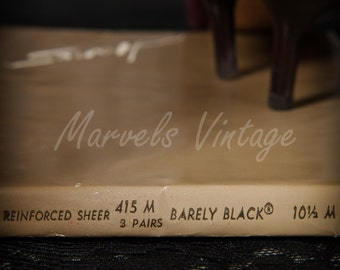 Vintage Hanes Stockings 415 Barely Black Nylon RHT Hosiery 3 pair Size 10 1/2 Medium