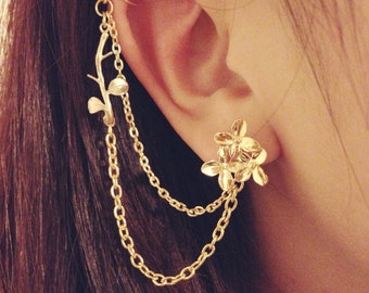 Gold daisy bouqet branch leaves studs with double chain ear cuff, ear stud, double piercing, clip on