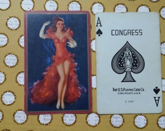 Collectible Vintage Pin Up Girl Swap Card | Ace of Spades | Pin-Up | U.S. Playing Card Co. | Congress