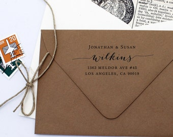 Address Stamp Script - Custom Self Inking Return Address Stamp - Housewarming Wedding Gift