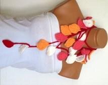 Handmade Crochet ivy lariat scarf, pink, red,white,orange  ivy leafs Lariat Scarf. Fashion Flower Scarves, Necklace..