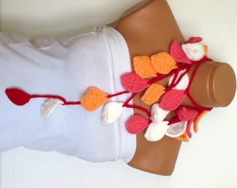 Handmade Crochet ivy lariat scarf, pink, red,white,orange  ivy leafs Lariat Scarf. Fashion Flower Scarves, Necklace..