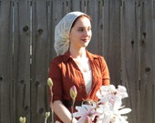 Women Coverings SCT6 - Christian Headcovering Headband Headscarf with Ties, in off-white with embroidery