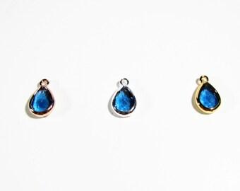 Sterling Silver Filled, Rose Gold Filled, Gold Filled London Blue Topaz Quartz Faceted Pear Briolette Charm Pendant Bezel Beads 13mm x 8mm